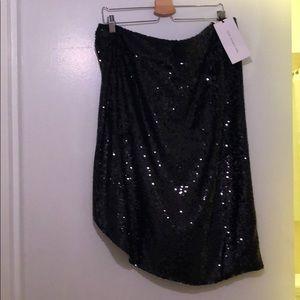 Black sequin wrap skirt w/ button & hook closure